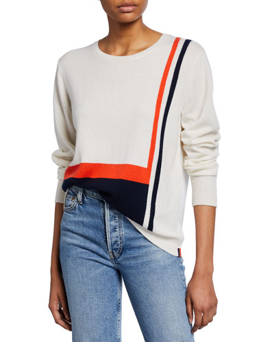 Striped Crewneck Long-Sleeve Cashmere Top