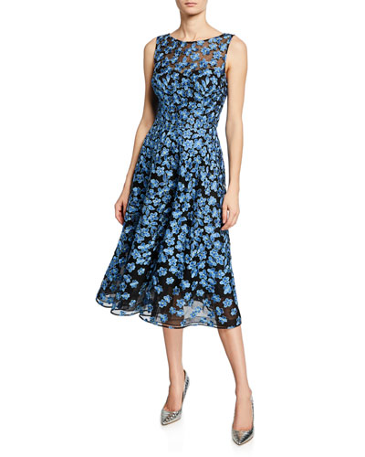 Sleeveless Floral Embroidery Tulle Dance Dress