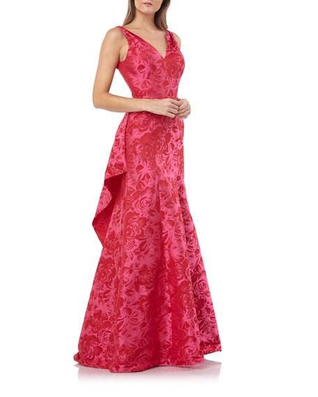 38c699c396b Carmen Marc Valvo Infusion V-Neck Sleeveless Jacquard Gown with Back Ruffle