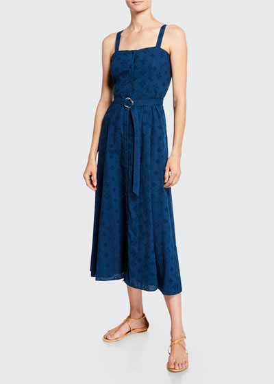 Alix Belted Eyelet Button-Front Long Dress