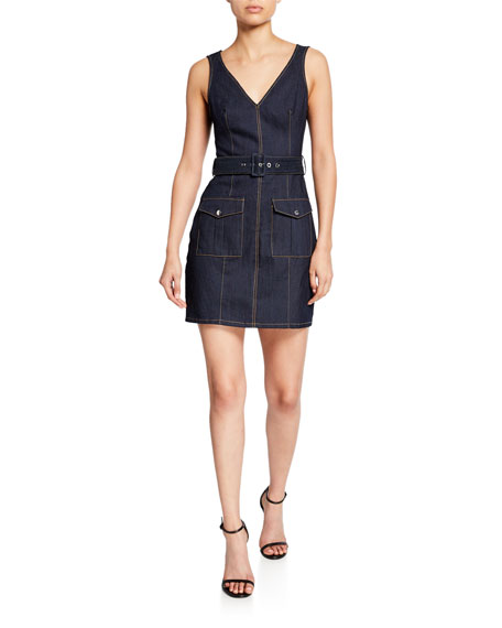 gwyneth sleeveless mini denim dress