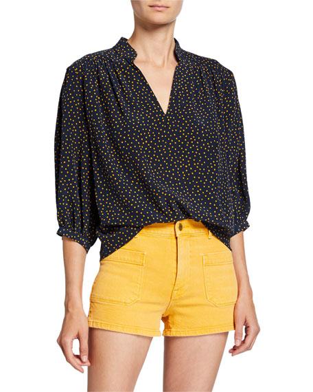 Cali Dot-Print Silk 3/4-Sleeve Top