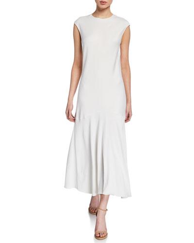 Cascade Keyhole Cap-Sleeve Dress