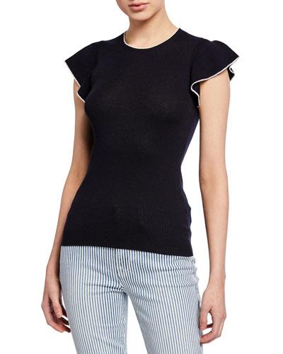 True Feminine Ribbed Flutter-Sleeve Sweater