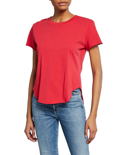 Crewneck Short-Sleeve High-Low Vintage Tee  Red