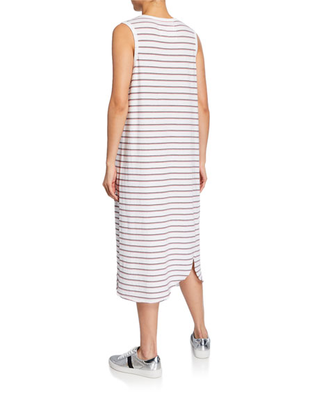 Striped Asymmetric Jersey Tank Dress