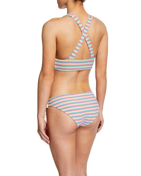 Erica Striped Lace-Up Bikini Bottom