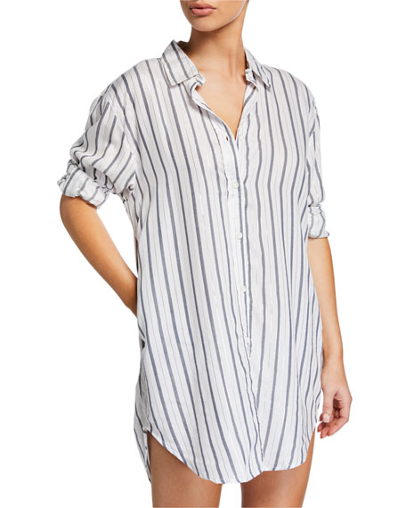 Marie Striped Coverup Shirtdress with Pockets