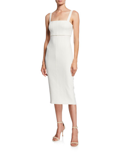 Dakota Seamed Sleeveless Midi Dress with Cutout