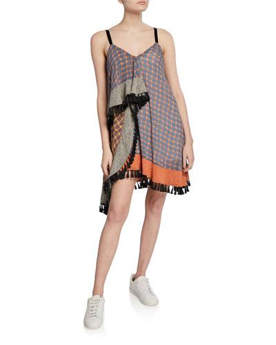 Raquel Draped Fringe Check Dress