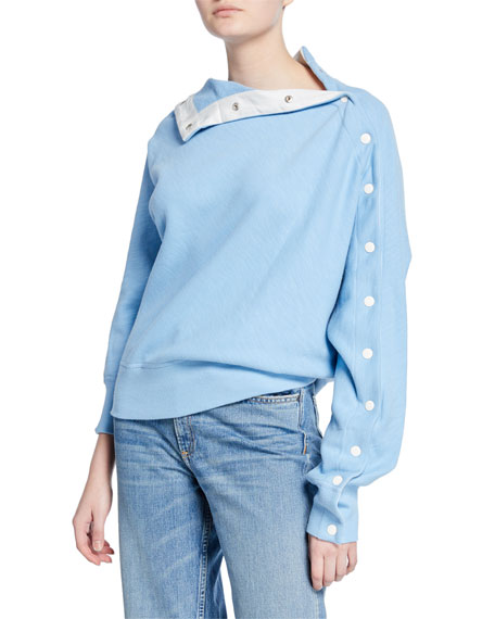 Kate Modular Snap Placket Pullover Sweatshirt