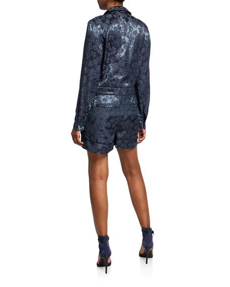 Jarvis Floral Jacquard Long-Sleeve Button-Front Jumpsuit