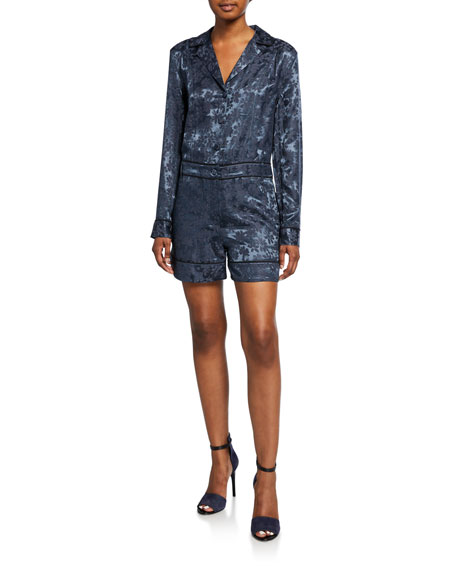Jarvis Floral Jacquard Long-Sleeve Button-Front Jumpsuit