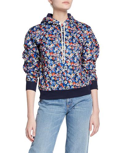 Floral-Print Pullover Hoodie
