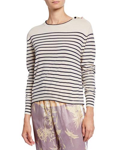 Striped Crewneck Virgin Wool Sweater