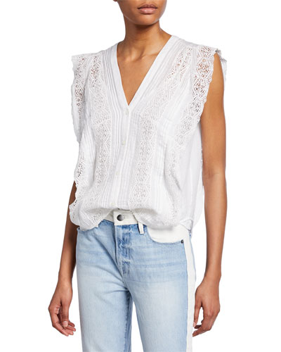 Sleeveless Lace Pintuck Blouse