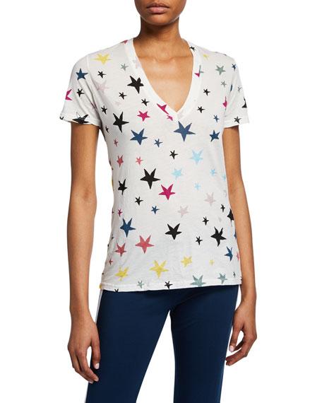 Stars V-Neck Short-Sleeve Cotton T-Shirt