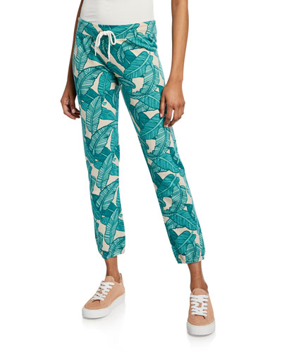 Vintage Banana Leaf-Printed Drawstring Sweatpants