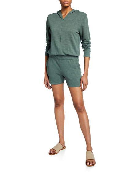 Monrow Tops SUPERSOFT ZIP-UP HOODED ROMPER