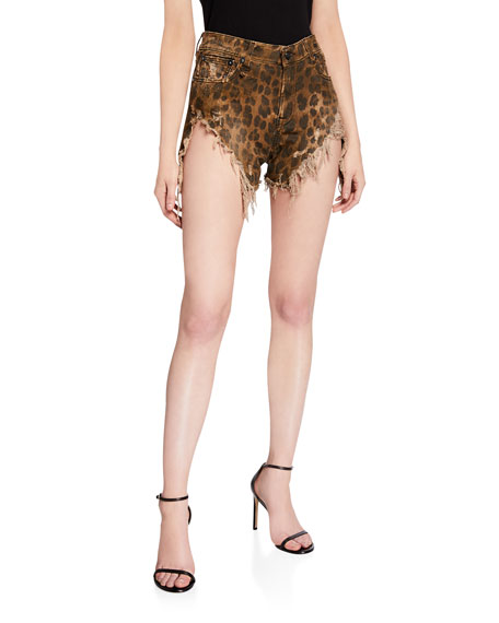 Shredded Slouch Leopard-Print Shorts