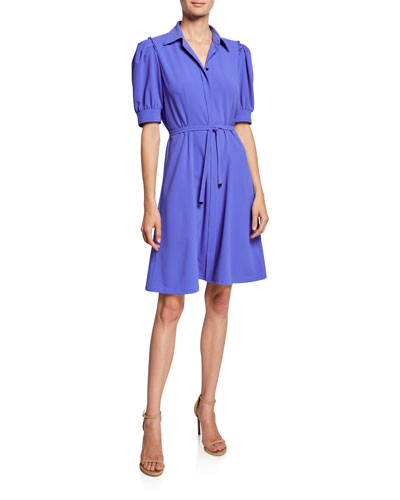 Mildred Button-Front Short-Sleeve Belted Crepe Dress