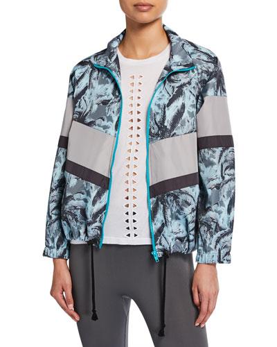 Palm-Print Colorblock Zip-Front Wind  Jacket