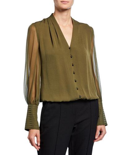 Skylar V-Neck Button-Front Blouson-Sleeve Silk Blouse