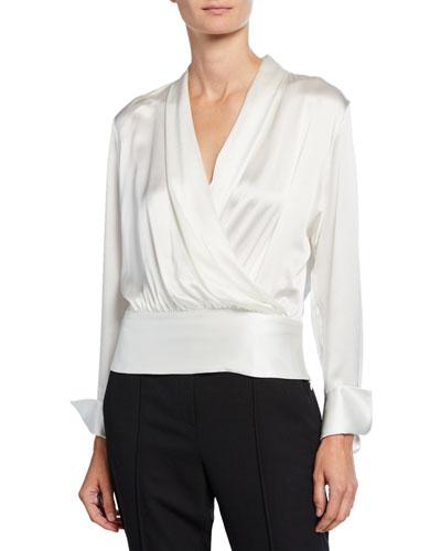 Logan V-Neck Long-Sleeve Silk Blouse