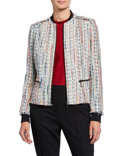 Brooke Zip-Front Tweed Jacket