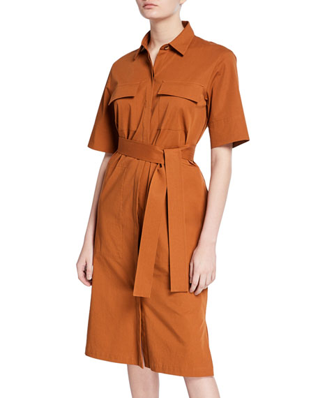 Cotton Bi-Stretch Short-Sleeve Belted Shirtdress