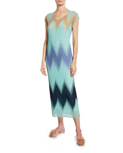 Metallic Chevron V-Neck Short-Sleeve Midi Dress