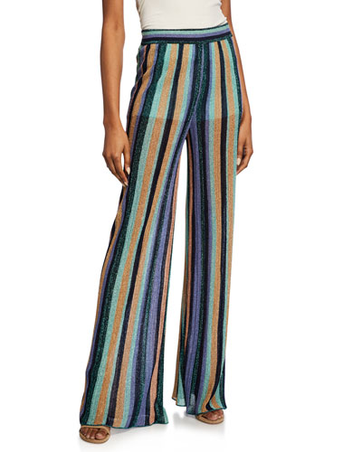 Metallic Striped Wide-Leg Pants
