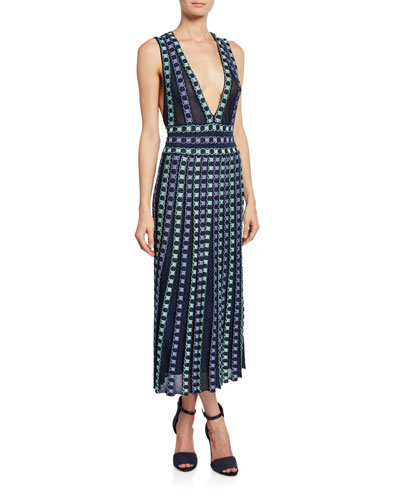 Plunging Knit Strappy Midi Dress with Embroidery