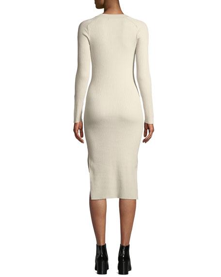 Brynn Ribbed Long-Sleeve Hook-Front Dress