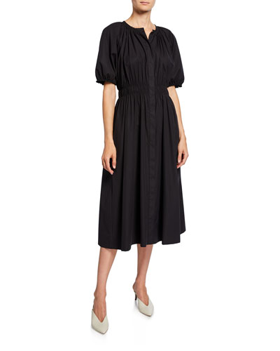 Button-Front Bubble-Sleeve Stretch-Cotton Poplin Dress