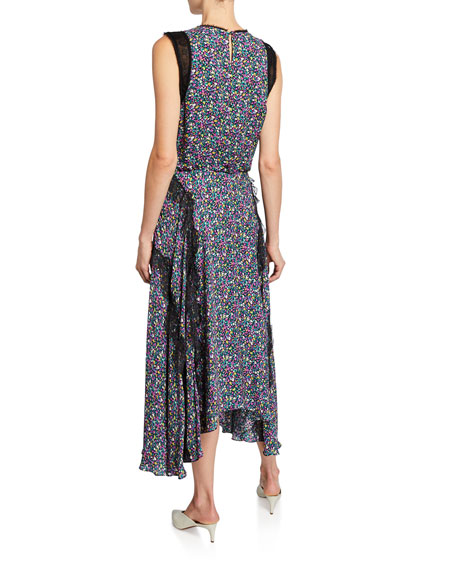 Confetti Floral-Print Sleeveless Dress with Lace Trim