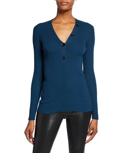 V-Neck Merino Wool Knit Sweater