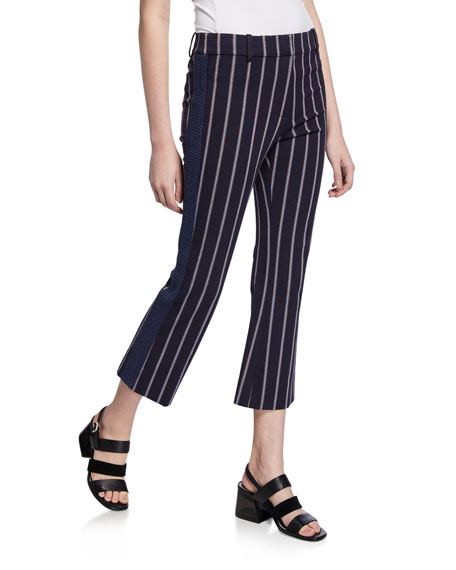 Cropped Flare Trousers with Braided Trim
