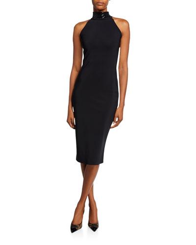 Tiffani Beaded-Neck Halter Cocktail Dress