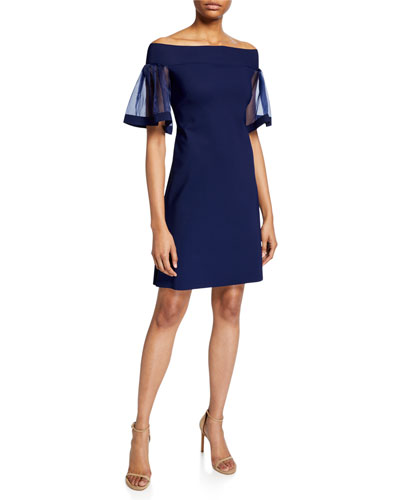 d74f7dcd Cleta Off-the-Shoulder Organza Flutter-Sleeve Sheath Dress Quick Look. Chiara  Boni ...