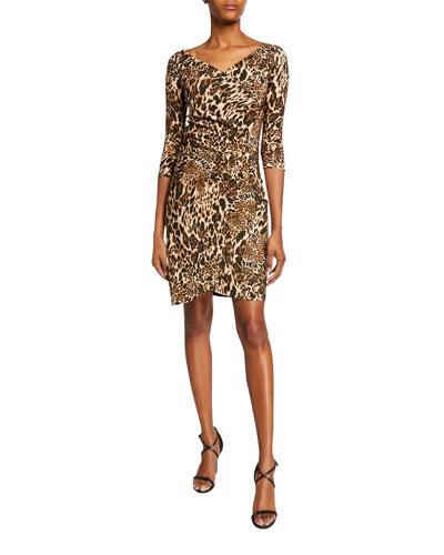 20df95f633f Emerentienne Leopard-Print 3 4-Sleeve Dress Quick Look. Chiara Boni La  Petite Robe