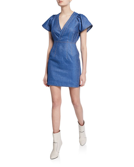 V-Neck Cap-Sleeve Fitted Mini Denim Dress