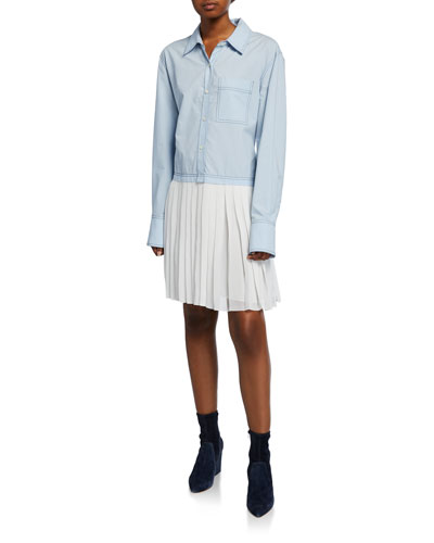 Long-Sleeve Mixed Media Shirtdress with Pleated Hem