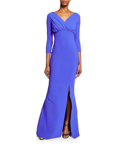 Frantiiska V-Neck 3/4-Sleeve Shirred Bustier Mermaid Gown