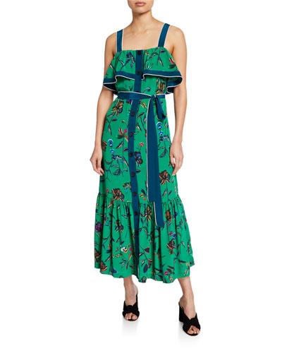Ruffle Cami Button-Front Maxi Dress