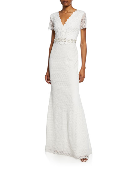 b938831051 Badgley Mischka Collection Floral Lace V-Neck Short-Sleeve Gown w  Jeweled  Belt