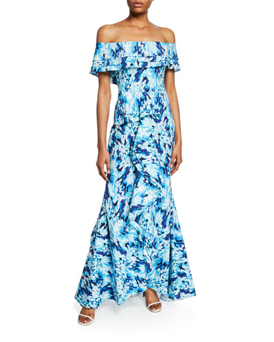 bea2195555b8 Printed Off-the-Shoulder Tiered Ruffle Mermaid Gown