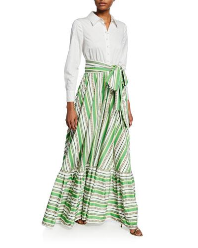 823f612212 Long-Sleeve Shirt Top & Striped Skirt Gown