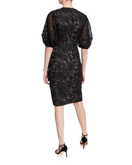 V-Neck Blouson-Sleeve Lace Sheath Dress