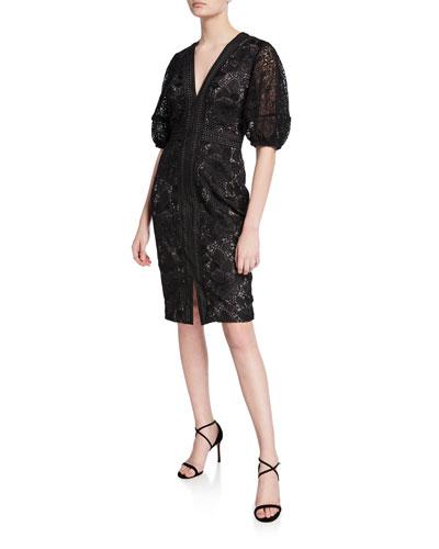 849235d416 V-Neck Blouson-Sleeve Lace Sheath Dress Quick Look. Badgley Mischka  Collection